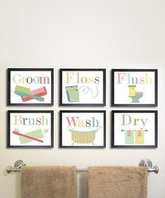 Bathroom Manners Six-Piece Print Set