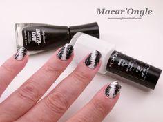 Macar'Ongle - 40 great nail art ideas – Black and white + fan brush