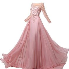 S long sleeves beaded sequins prom dress a-line chiffon evening gown Indian Wedding Gowns, Wedding Dress, Prom Dresses With Sleeves, Beaded Chiffon, Everyday Dresses, Beautiful Dresses, Pretty Dresses, Evening Dresses, Party Dress