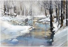 "Christmas Watercolor Paintings | Thomas W. Schaller. Christmas Day - Ohio. 30x22"". Painted 6 Jan. 2013"