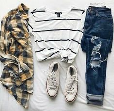 New Ideas How To Wear Overalls Shorts Outfits Striped Shirts Teen Fashion Outfits, Mode Outfits, Outfits For Teens, Fall Outfits, Summer Outfits, Flannel Outfits Summer, Cute Casual Outfits, Short Outfits, Cute Outfits With Flannels
