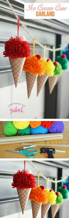 15 Fun DIY Summer Craft Projects You Have to Try - how to make a #DIY ice cream cone garland (great for summer #homedecor)