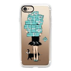 Tiffany's Blue Boxes Girl (Light Skin) Fashion illustration... ($40) ❤ liked on Polyvore featuring accessories, tech accessories, iphone case, iphone cases, slim iphone case, blue iphone case, iphone cover case and apple iphone cases
