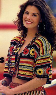 Hippie Crochet, Freeform Crochet, Crochet Jacket, Crochet Cardigan, Crochet Stitches Patterns, Crochet Chart, Moda Crochet, Knit Crochet, Rainbow Crochet