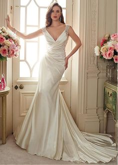 Graceful Streth Satin & Tulle V-neck Neckline Mermaid Wedding Dresses with Beaded Lace Appliques