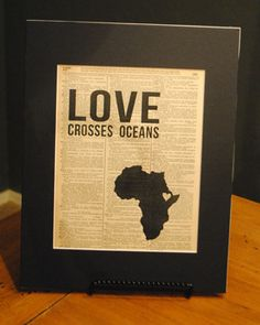"Vintage Word art ""Love Crosses Oceans"" - Ethiopia. Other countries available. Great for adoptive families, missions, etc. $15"