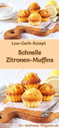 Low-Carb-Rezept für Zitronen-Muffins: Kohlenhydratarmes Frühstück - gesund, kalorienreduziert, ohne Getreidemehl ... #lowcarb #frühstück