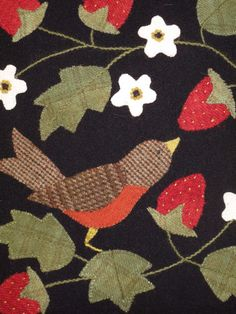 Hollyhill Quilt Shoppe From Bonnie's Garden by Bonny Sullivan, pub. Quiltmania /France I couldn't find this quilt but I do like the idea of the robin in the strawberry patch Bird Applique, Wool Applique Patterns, Applique Designs, Wool Quilts, Mini Quilts, Wool Applique Quilts, Fabric Art, Fabric Crafts, Felted Wool Crafts