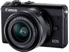 Canon EOS Kit (Black) mirrorless camera with IS STM zoom lens, Wi-Fi®, and Bluetooth® at Crutchfield Canon Eos, Nikon Dx, Camera Deals, Sharp Photo, Cheap Cameras, Bluetooth, Smartphone, Small Camera, Usb