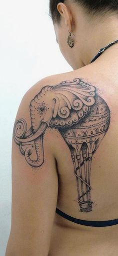 Elephant-Tattoo-On-Back-Shoulder Awesome Shoulder Tattoo Designs 2020 Trendy Tattoos, Tribal Tattoos, Tattoos For Guys, Tattoos For Women, Cool Tattoos, Creative Tattoos, Tatoos, Tattoo Son, Get A Tattoo