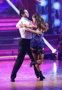 "Week 8 - Corbin Bleu & Karina Smirnoff Dance: Argentine Tango Song: ""Welcome to Burlesque"" by Cher Judges' Scores: 9+9+9=27"