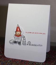 Keywords: CAS164 CAS Gnome Sweet Gnome SUO Stamps: Gnome Sweet Gnome, Gnomenclature Paper: White Ink: Black, Poppy Parade (sentiment) Accessories: Copics, Circle punch, Scoring tool Techniques: Spotlighting, CAS