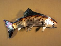 Trout Lake Rainbow Brown Fish Metal Fly Fishing Flyfishing Fisherman Steel River Stream Wall Art Home Cabin Decor on Etsy, $39.99