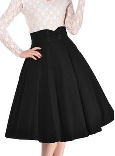 I can't get enough of these retro styles, fashion for women. Women's Vintage High Waist A-line Retro Casual Swing Skirt