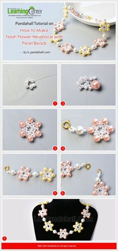 Pandahall Tutorial on How to Make Fresh Flower necklace with Pearl Beads from LC.Pandahall.com | Jewelry Making Tutorials & Tips 2 | Pinterest by Jersica