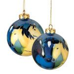 Guardian Angel Ornament. Talented artisans use tiny brushes to re-create Leslie Anne Webbs best-selling image of five colts inside each glass ornament. The effect is luminous, perfect for your holiday tree, or simply hang in a window. Design wraps fully around front and back. Includes gold cord for hanging. 3 1/2 diameter. BITS Exclusive.. Price: $18.95