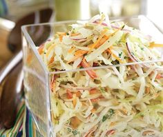 Apple Slaw Recipe--super spicy, but yummy! We thought adding pomegranate seeds and substituting sriracha for the chipotle might be the way to go.