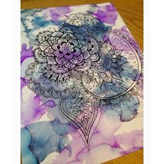 Zentangle Drawing Over Alcohol Ink by TheSunDropShop on Etsy