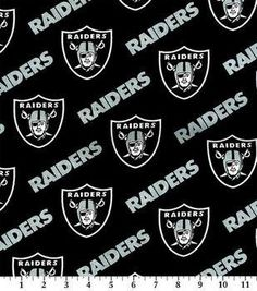 Oakland Raiders Black Cotton Fabric by the Yard
