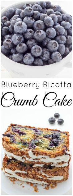 Moist and Buttery Blueberry Ricotta Crumb Cake topped with Vanilla Glaze! Blueberry Recipes, Fruit Recipes, Sweet Recipes, Cake Recipes, Dessert Recipes, Bread Recipes, Summer Desserts, Just Desserts, Delicious Desserts