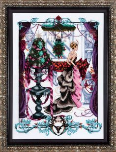 Mirabilia Christmas in London - Cross Stitch Pattern. Model stitched on 32 Ct. White Linen with DMC floss, Mill Hill Beads, and Mill Hill Treasures. Stitch Cou