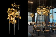 KELP Fortuna Collection by Brand van Egmond. See how our Kelp Fortuna collection is used in restaurant decoration. See all our contemporary lighting collections at WWW.COM or get in touch for advice or custom lighting requests. Custom Lighting, Modern Lighting, Lighting Design, Contemporary Chandelier, Light Art, E Design, Light Decorations, Pendant Lighting, Light Fixtures