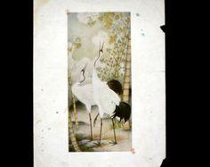 Vintage Japanese Print Crane Bamboo