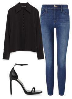 """Untitled #6384"" by ana-sheeran-styles ❤ liked on Polyvore featuring Frame, Zara and Yves Saint Laurent"
