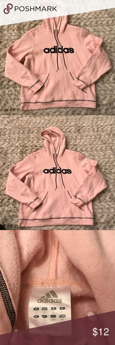 Adidas pink Pull over Hoodie Adidas pink pull over hoodie! Size large...kangaroo pocket on front of hoodie. Used but still in good condition. Small pink spit on lower back of hoodie. See last pic. Adidas Tops Sweatshirts & Hoodies