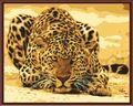 Cuadro sin marco en la pared de acrílico pintura por números dibujo abstracto por números para colorear por números 40x50 cm Leopardo G253
