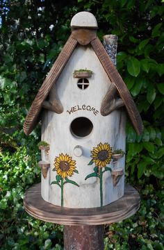 Whimsical Sunflowers Birdhouse by EnchantedWoodWorks on Etsy, $50.00