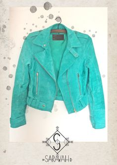 Turquoise Leather jacket: a must have for Kim!!!!!!!