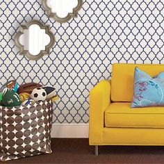 Moroccan Small Pattern Wallpaper - Navy - Peel and Stick