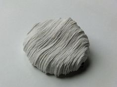 Lisa Catterson, United Kingdom, White Contour Brooch, handmade paper and oxidised white metal