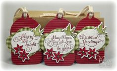 Holiday tags by Jacki Pedro using Verve Stamps. #vervestamps