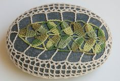 Hand crochet lace beach stone olive green leaf by TableTopJewels, $35.00