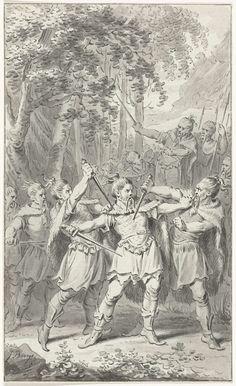 Jacobus Buys | Moord op de Germaanse veldheer Arminius, 19, Jacobus Buys, 1779 - 1784 | De Germaanse veldheer Arminius, leider van de stam der Cherusken, wordt in 19 (volgens FM in het jaar 17) door leden van zijn eigen stam vermoord. Ontwerp voor een prent.