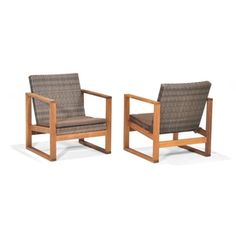 Garden Treasures Set of 2 Canal Point Eucalyptus Wood and Woven Patio Chairs $358 Shop Lowes.com