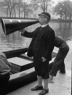 Life Magazine, April 1941. Kent School Headmaster Father Sill Yelling Through Megaphone to Crew Team
