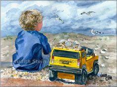 BEACH BOY Truck of Seashells 15x11 Watercolor Art Print. $40.00, via Etsy.