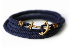 Anchor Black Leather Bracelet 40$