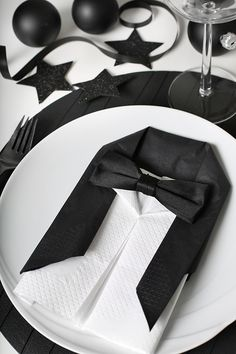 Black and white tuxedo place setting