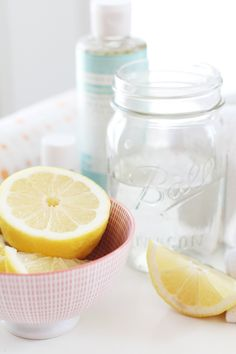all purpose lemon cleaner- 1 cup warm water//1 cup white vinegar//30 drops tea tree oil// 4 Tbs lemon juice