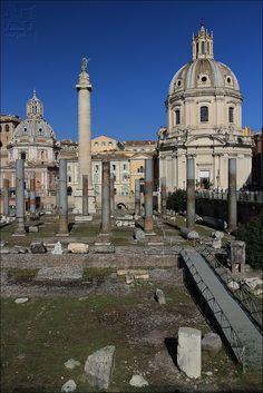 Traiana Column with the church of Santissimo nome di Maria al Foro Traiano - Rome - Italy