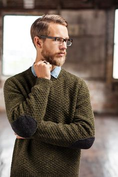 Fort sweater pattern by Jared Flood (knitting, pullover, bottom-up, seamless, elbow patches, brooklyn tweed) — featured in New Favorites: from Brooklyn Tweed Men —> http://fringeassociation.com/2013/07/10/new-favorites-from-brooklyn-tweed-men/