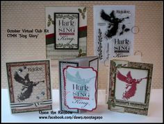 """Close to My Heart Card Kit: """"Sing Glory"""" CTMH acrylic stamp set and 4 projects that are precut and individually bagged. Pictures and directions for you to make on your own at home. www.facebook.com/dawn.montagano"""