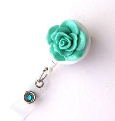 Seafoam Bloom - ID Badge Holder - Flower Badge Reels - Designer ID Reel - Nurse Gifts - Pretty Name Badge Clips - BadgeBlooms