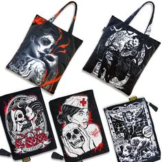 5 new hot Liquor Brand Bags added today, 2 totebags and 3 Cosmetic bags. See more details at: www.punkabillyclothing.com