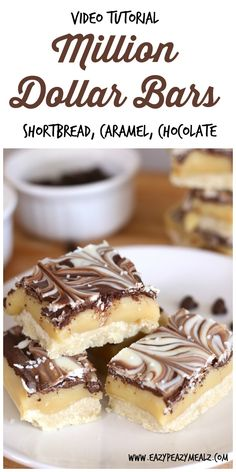 Million Dollar Bars (video tutorial): Buttery shortbread, creamy caramel, and swirled white and milk chocolate goodness! The perfect dessert. This is a video tutorial for how to make it! And it rocks. #ad - Eazy Peazy Mealz