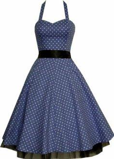 Pretty Kitty Fashion 50s Polka Dot Blau Weiß Neckholder Cocktail Kleid M: Amazon.de: Bekleidung
